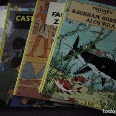 Cómics: TINTIN, LAU LEHENENGO EDIZIO, CUATRO PRIMERAS EDICIONES (ELKAR). Lote 196061532