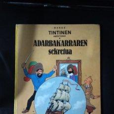 Cómics: TINTIN ADARBAKARRAREN SEKRETUA / ELKAR 1986 EUSKARAZ VASCO BASQUE TAPA DURA COMO NUEVO. Lote 196548356