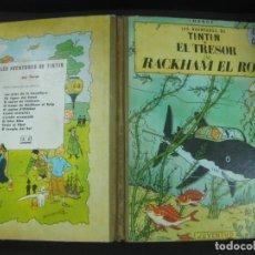 Comics : LES AVENTURES DE TINTIN. EL TRESOR DE RACKHAM EL ROIG. JUVENTUD 1ª ED. EN CATALAN 1965. LOMO VERDE.. Lote 196607862