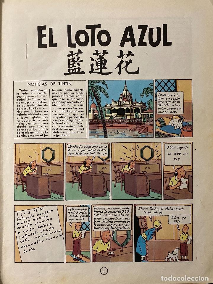 Cómics: LAS AVENTURAS DE TINTIN - El loto azul primera edición año 1965 - JUVENTUD - Foto 3 - 204369971