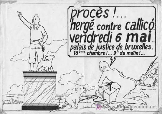 Cómics: Octavilla distribuída en Bruselas antes del juicio de Hergé contra Gallico - Foto 2 - 208415277