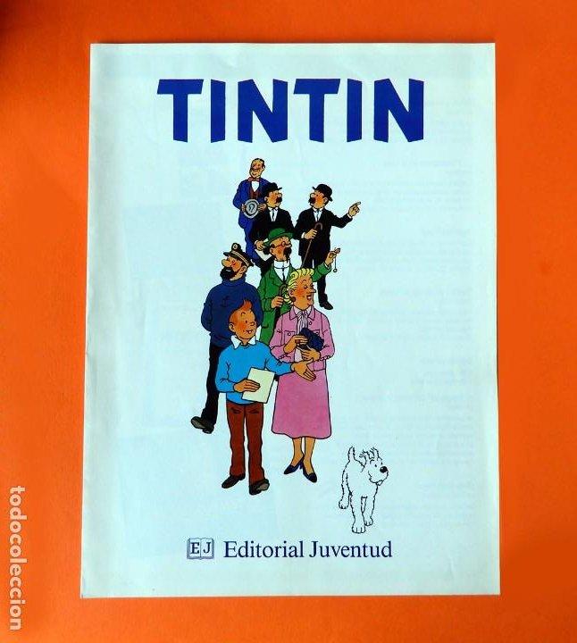 FOLLETO TRÍPTICO DE TINTIN Y HERGÉ DE EDITORIAL JUVENTUD Y MARCAPAGÍNAS - ORIGINAL - NUEVO - DIFÍCIL (Tebeos y Comics - Juventud - Tintín)