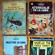 Cómics: LOTE DE 4 COMICS DE TINTIN. ANTIGUOS EDICIONES VARIAS.. Lote 210137605