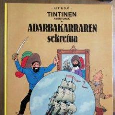 Cómics: ADARBAKARRAREN SEKRETUA TINTINEN ABENTURAK TINTIN EUSKERA VASCO. Lote 210964742