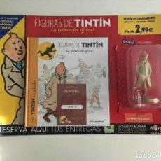 Cómics: LOTE FIGURA MUÑECO DE TINTIN EN GABARDINA EN BLISTER, LIBRO FASCICULO Nº 1 Y PASAPORTE PRECINTADOS. Lote 214504663