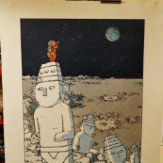 Fumetti: CARTEL GRAN FORMATO - TINTIN / VIAJE A LA LUNA - HOMENAJE DE PATRICK NARES - SOURIS VERTE. Lote 217228773