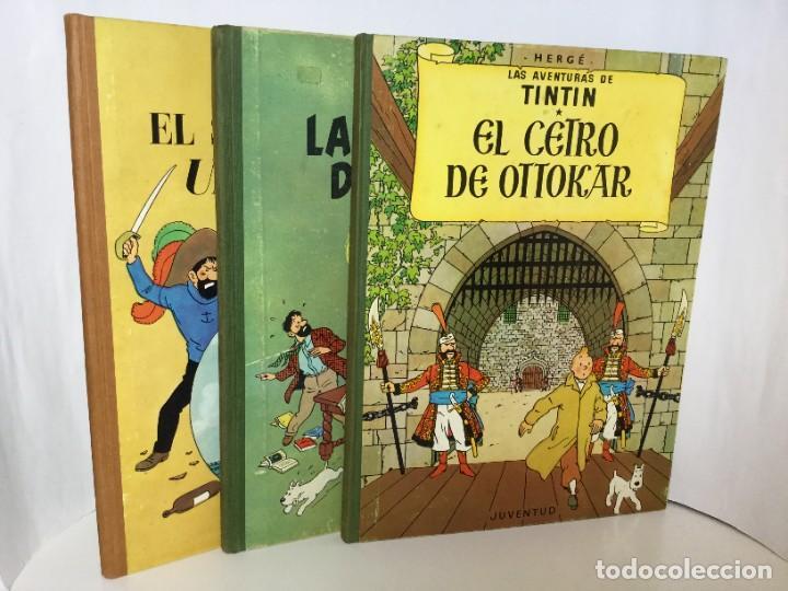 TINTÍN JUVENTUD LOTE 3 LIBROS EL SECRETO DEL UNICORNIO,EL CETRO DE OTTOKAR Y LAS 7 BOLAS DE CRISTAL, (Tebeos y Comics - Juventud - Tintín)