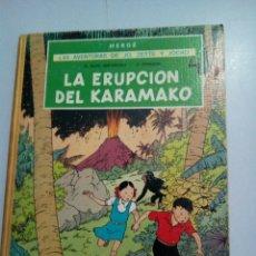 Cómics: HERGÉ * PRIMERA EDICIÓN * 1971* LAS AVENTURAS DE JO ,ZETTE Y JOCKO* LOMO AMARILLO . LA ERUPCIÓN DEL. Lote 218843695