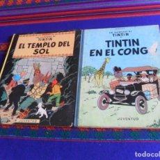 Cómics: TINTIN EN EL CONGO. JUVENTUD 2ª SEGUNDA EDICIÓN 1970. REGALO EL TEMPLO DEL SOL 3ª TERCERA ED. 1975.. Lote 222298147