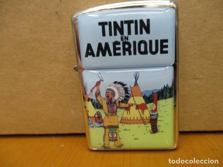 MECHERO TINTIN TIPO ZIPPO NUEVO - SIN USO - TINTIN EN AMERICA - PORTADA FRANCESA (Tebeos y Comics - Juventud - Tintín)