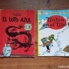 Cómics: TINTÍN, 2 AVENTURAS, LOTO AZUL Y EN EL TIBET, ENCUADERNACIÓN EN RÚSTICA. Lote 227684085