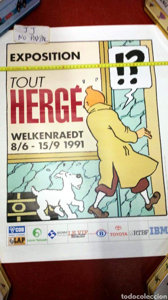 Cómics: Atención póster original de exposición 1991 en Bélgica de tintin herge 63x51 aprox inedito en tc - Foto 2 - 228635715