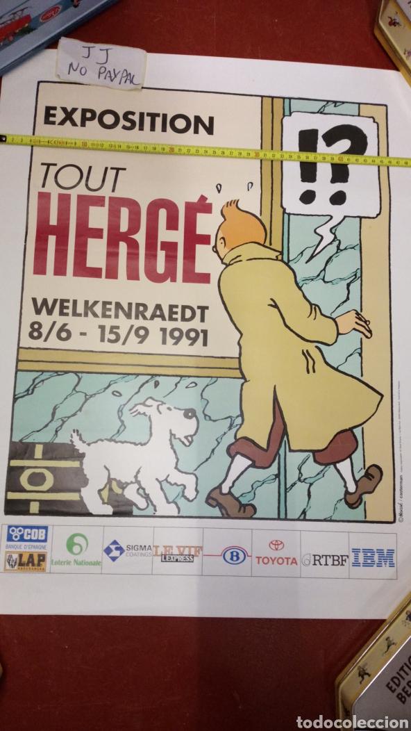 Cómics: Atención póster original de exposición 1991 en Bélgica de tintin herge 63x51 aprox inedito en tc - Foto 4 - 228635715