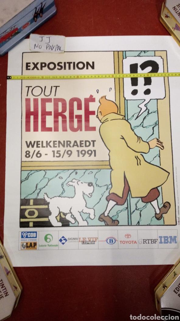 ATENCIÓN PÓSTER ORIGINAL DE EXPOSICIÓN 1991 EN BÉLGICA DE TINTIN HERGE 63X51 APROX INEDITO EN TC (Tebeos y Comics - Juventud - Tintín)