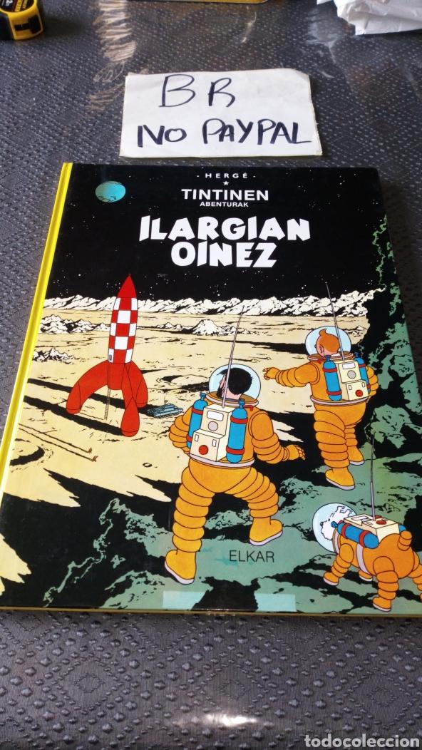 TINTIN EUSKERA ILARGIAN OINEZ SEGUNDA EDICIÓN VER FOTOS ESTADO RALLAS ROTU PRIMERA HOJA HERGE ELKAR (Tebeos y Comics - Juventud - Tintín)