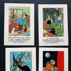 Fumetti: TINTIN / 4 TARJETAS DE PUBLICIDAD ( COMPLETA ) ED. JUVENTUD / TITULOS PUBLICADOS / 10 X 7. Lote 235277535
