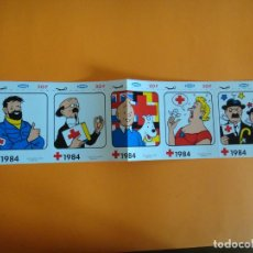 Cómics: TIRA DE ADHESIVOS DE TINTIN Y LA CRUZ ROJA 1984 DIBUJOS STUDIOS HERGE PLUBIART .. Lote 240650105