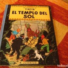 Cómics: LOMO DE TELA EL TEMPLO DEL SOL NOVENA EDICIÓN TINTIN HERGÉ 1986 JUVENTUD TAPA DURA. Lote 244537600