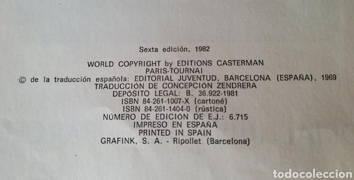 Cómics: LAS AVENTURAS DE TINTÍN. VUELO 714 PARA SIDNEY. SEXTA EDICIÓN. 1982. EDITORIAL JUVENTUD. - Foto 2 - 245281045