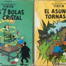 Cómics: LOTE 2 LIBROS LAS AVENTURAS DE TINTIN - LAS 7 BOLAS DE CRISTAL Y EL ASUNTO TORNASOL COMIC TEBEO. Lote 249091565