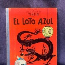 Cómics: LAS AVENTURAS DE TINTIN 1ª EDICION 1965 MUY BUEN ESTADO EL LOTO AZUL 30,5X23CMS. Lote 258838955