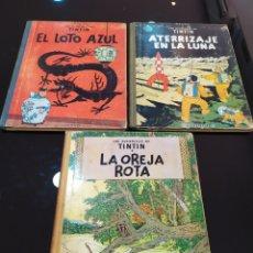 Comics: LOTE LAS AVENTURAS DE TINTÍN: EL LOTO AZUL, ATERRIZAJE EN LA LUNA Y LA OREJA ROTA. 1965 PRIMERAS ED.. Lote 263241425