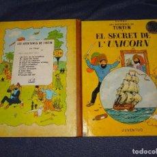 Cómics: TINTIN - EL SECRET DE L'UNICORN, EDICIO EN CATALA , EDT JUVENTUD 2 EDC 1965, SEÑALES DE USO. Lote 267912284