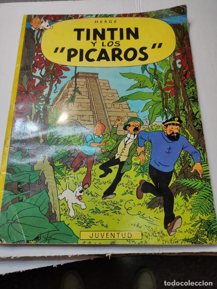 TINTIN Y LOS PICAROS PRIMERA EDICIÓN JUVENTUD TAPA BLANDA 1976 DIFÍCIL (Tebeos y Comics - Juventud - Tintín)