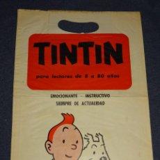 Cómics: (M) TINTIN BOLSA ORIGINAL AÑOS 70 EDITORIAL JUVENTUD - TINTIN PARA LECTORES DE 8 A 80 AÑOS, 26X38CM. Lote 290062683