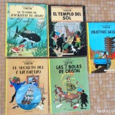 Cómics: LOTE 5 COMICS TINTIN EDITORIAL JUVENTUD AÑOS 90 EN BUEN ESTADO. Lote 295748938