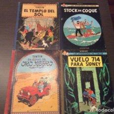 Cómics: TINTÍN PRIMERA EDICIÓN EL TEMPLO DEL SOL+STOCK DE COQUE+EN EL PAIS DE ORO NEGRO +VUELO 714 PARA SIDN. Lote 296864438