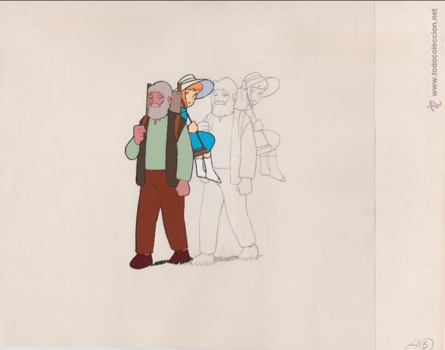 CEL ORIGINAL DE LA SERIE ANIME HEIDI ( AÑOS 70´S ) CLARA Y EL ABUELO ( CON LAPIZ PRELIMINAR ) (Tebeos y Comics - Manga)