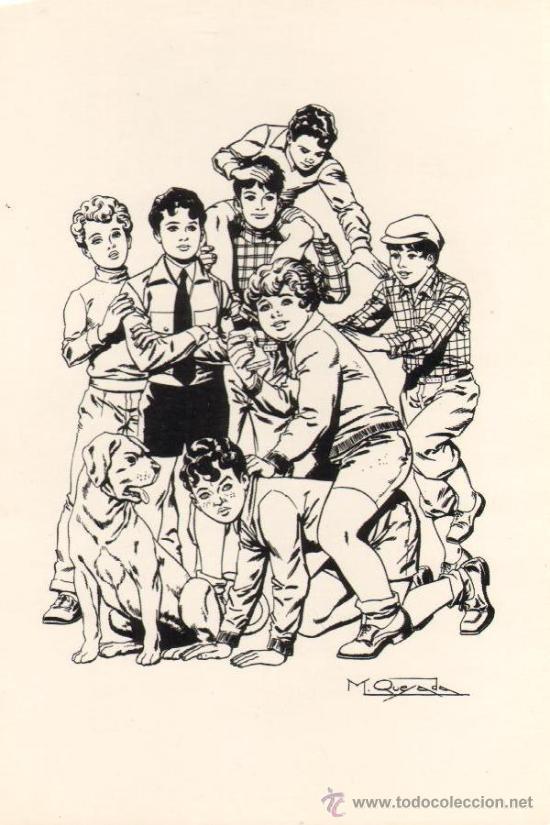 TEBEOS-COMICS GOYO - DIBUJO CARTULINA 26X13 - MIGUEL QUESADA - LA PANDILLA DE LOS 7 *BB99 (Tebeos y Comics - Comics Merchandising)