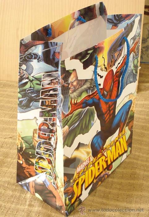 """Cómics: bolsa de Spiderman tipo """"caja"""", resistente con asas de cuerda. Nueva - Foto 2 - 35829333"""