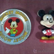 Cómics: PLATITO DE CHAPA DISNEY Y FIGURA MICKEY MOUSE KELLOG CO.. Lote 39259242