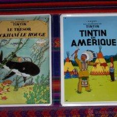 Cómics: DOS PRECIOSAS PLACAS METÁLICAS DECORATIVAS DE TINTIN. 30 X 20 CMS. ÚNICAS Y NUEVAS.. Lote 39488076