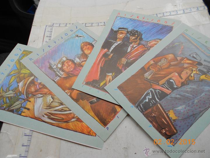 POSTAL COLECCIÓN: LOTE 4 POSTALES RISKY JOBS JAVIER DE JUAN 1984 NA.B (Tebeos y Comics - Comics Merchandising)