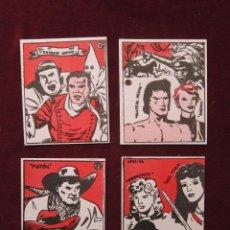 Cómics: LOTE 4 CROMOS HEROES DEL TEBEO MAESTROS DE LA HISTORIETA CLUB VALLISOLETANO DEL TEBEO TEBENI NUEVOS. Lote 49491268