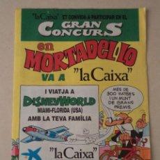 Cómics: HOJA DE INSCRIPCIÓN PARA PARTICIPAR EN EL GRAN CONCURS EN MORTADEL·LO (MORTADELO) VA A LA CAIXA. Lote 51044099