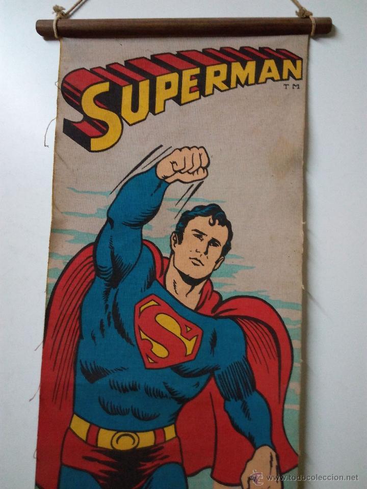 Cómics: CARTEL-POSTER EN TELA . SUPERMAN . DC COMICS INC AÑO 1979 . REALIZADO EN TELA PARA COLGAR. - Foto 2 - 54631531
