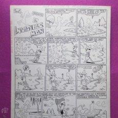 Cómics: DIBUJO ORIGINAL PLUMILLA, PALOP, PRESENTA A INVISIBLE MAN, 1 HOJA, EXTRA DE PRIMAVERA JAIMITO, 1968,. Lote 54104889