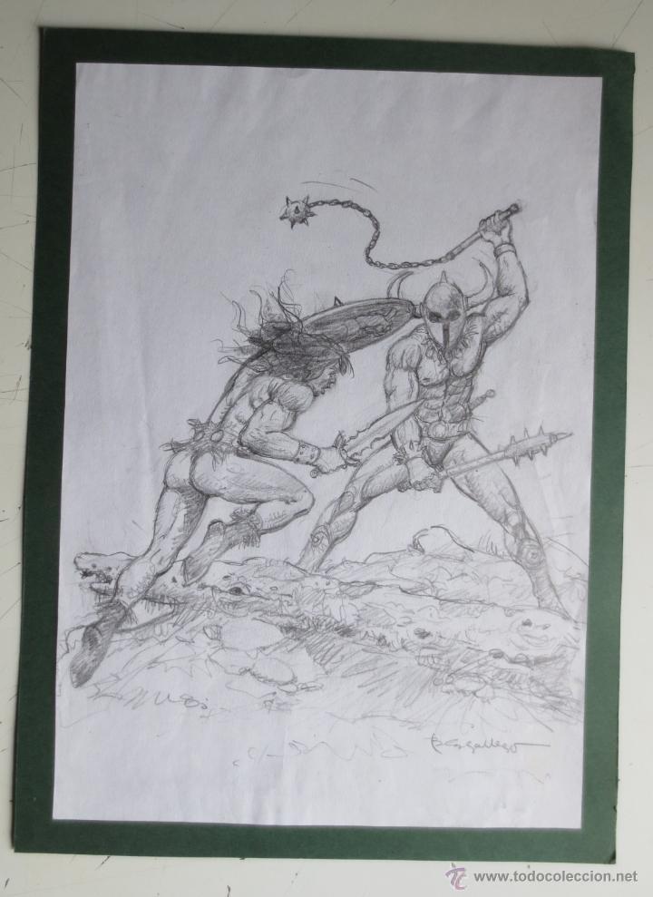 DIBUJO ORIGINAL CONAN DE BLAS GALLEGO DRAWING ORIGINAL ART (Tebeos y Comics - Comics Merchandising)