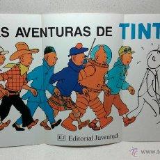Cómics: TINTÍN - CARTEL - LAS AVENTURAS DE TINTÍN - EDITORIAL JUVENTUD - 48 X 25,5 CM. Lote 54584926