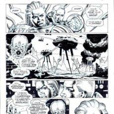 Cómics: ART COMIC DAVE GIBBONS ORIGINAL-29X42.5 CM DEDICADO. Lote 54860260