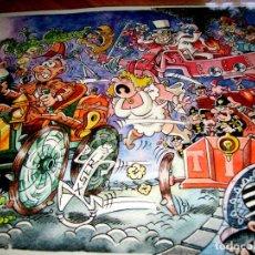 Cómics: SÚPER PÓSTER PLASTIFICADO MORTADELO Y FILEMÓN A LO SHERLOCK HOLMES DE MIYAZAKI, MUY RARO, TAMAÑO A3. Lote 148069532