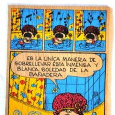 Cómics: CUADRO DE MADERA COMIC MAFALDA PARA COLGAR EN LA PARED. 1990 QUINO. [NUEVO] TABLA DE MADERA. Lote 67695673