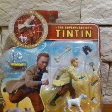 Cómics: TINTIN - FIGURA - TINTIN + MILU + BARCO UNICORNIO + 5 ACCESORIOS - PLASTOY - PRECINTADO - NUEVO. Lote 68249707