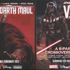 Cómics: STAR WARS DARTH VADER & DARTH MAUL LOTE 2 POSTALES PROMOCIONALES MARVEL COMICS. Lote 80065637