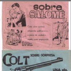 Cómics: 2 SOBRES SORPRESA (VACÍOS) + 12 SOBRECITOS DE CROMOS, GLOBOS Y JUGUETITOS DE REGALO = SOBRE SORPRESA. Lote 98395871