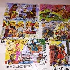 Cómics: SERIE 6 SELLOS TURKS & CAICOS ISLANDS. PIRATES OF THE CARIBBEAN. DISNEY. Lote 113358011